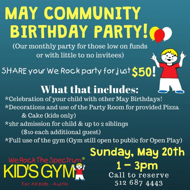 may community birthday party kids out and about austin